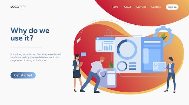 Commercieel team dat presentatiedia construeert