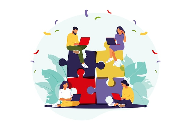 Commercieel team dat puzzel samenstelt. cartoon partners werken in verband.