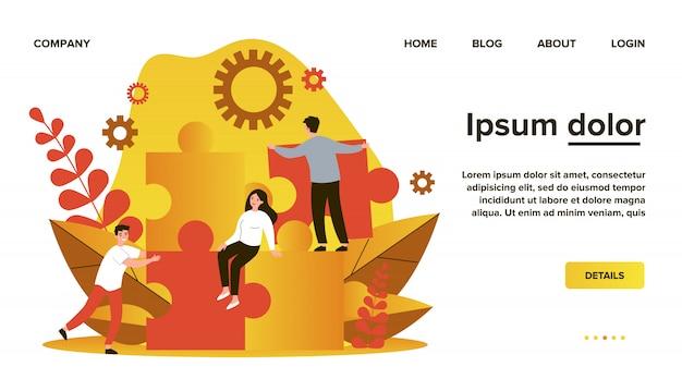 Commercieel team dat puzzeloplossing construeert. mensen verbinden grote puzzelstukjes. illustratie voor gemeenschap, fusie, ontdekking, teamwerkconcept