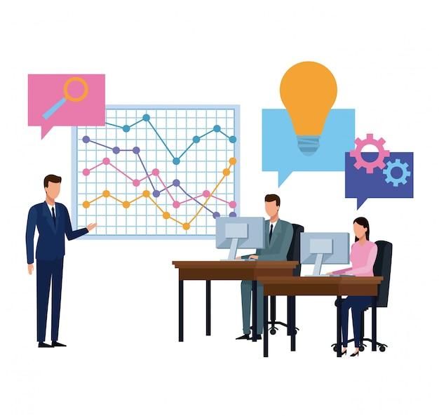 Commercieel team die diagrambeeldverhaal voorstellen