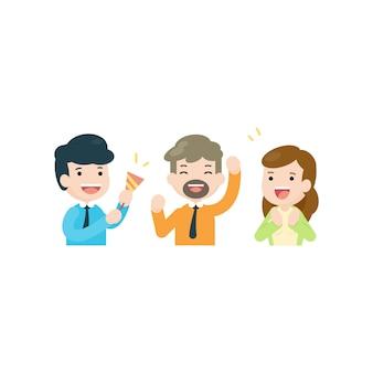Commercieel team die samen, het gelukkige concept van het mensensucces, vectorillustratie vieren.