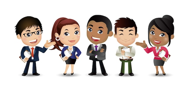 Commercieel team een groep kantoormedewerkers