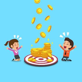 Commercieel team met doel- en geldmunten