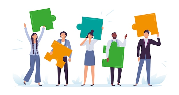 Commercieel team met puzzelstukjes