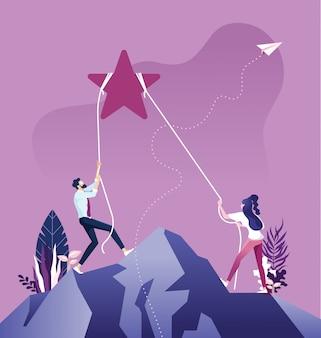 Commercieel team om ster, bedrijfsdoel en ontwikkelingsconcept te bereiken