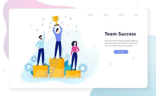 Commercieel team op voetstuk. prestaties en leiderschap