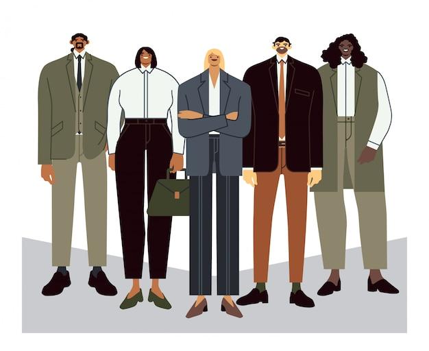 Commercieel team. teamleider met werknemers, kantoorpersoneelsportret en professionele kantoormensen groeperen vlakke afbeelding. ondergeschiktheid, teamwork, samenwerkingsconcept. stevig personeel