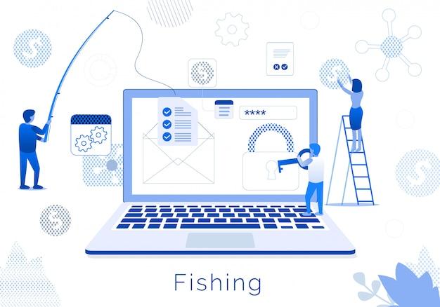 Commercieel team visserijmetafoor vlakke tekstbanner