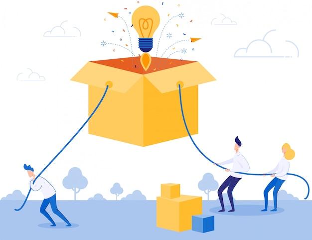 Commercieel team werkt hard aan het opstarten van ideeën