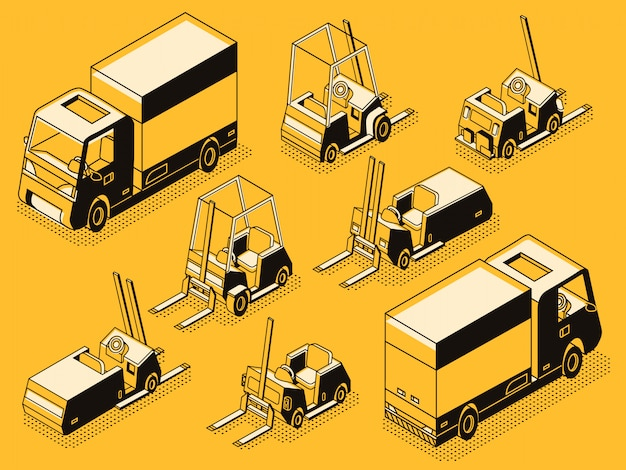 Commercieel transport en hydraulische laadmachines zwarte lijntekeningen