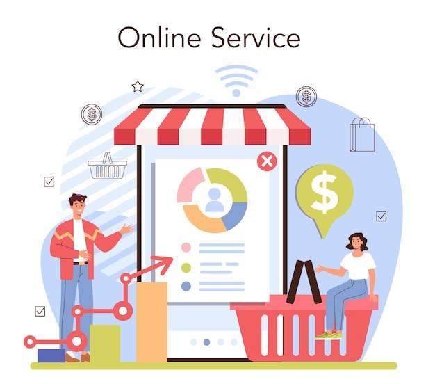 Commerciële activiteiten online service of platform. ondernemer die de vraag naar goederen volgt. producten verpakking voor distributie. platte vectorillustratie