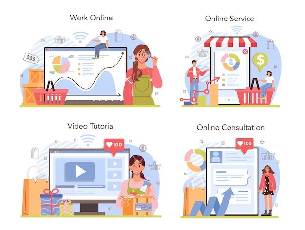 Commerciële activiteiten online service of platform set. ondernemer die de vraag naar goederen volgt. producten verpakking voor distributie. online overleg, videozelfstudie, werk. platte vectorillustratie