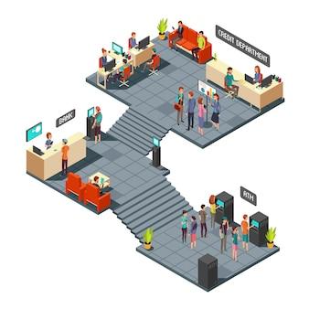 Commerciële bank kantoor 3d isometrische interieur met mensen uit het bedrijfsleven binnen. bank- en financiewezen vector concept