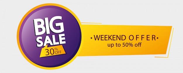Commerciële banner grote verkoop belettering met dertig en vijftig procent korting