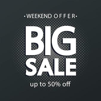 Commerciële banner met grote verkoop belettering en vijftig procent korting