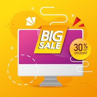 Commerciële banner met grote verkoop belettering in computer en dertig procent korting