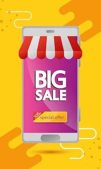 Commerciële banner met grote verkoop belettering in smartphone en dertig procent korting