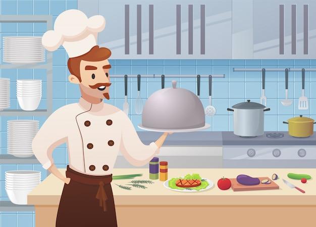 Commerciële keuken met stripfiguren chef