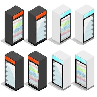 Commerciële koelkast voor dranken in blikjes en flessen. isometrisch geïsoleerd op een witte achtergrond. koelapparatuur voor winkels en supermarkten. vector illustratie.