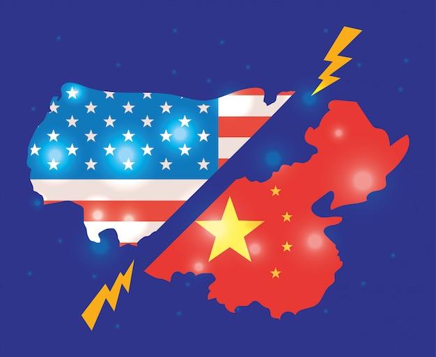 Commerciële oorlog tussen de illustratie van china en van de vs