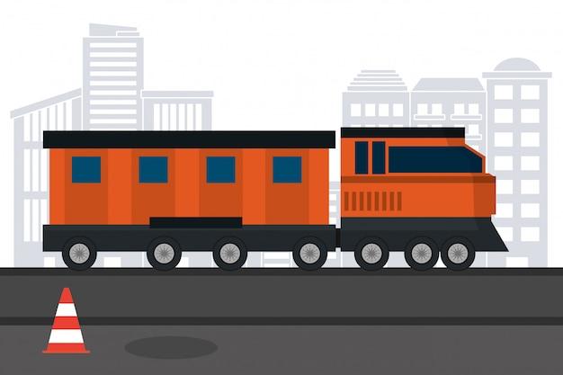 Commerciële trein in de stad
