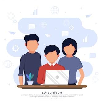 Commerciële vergadering achter bureau met laptop computer