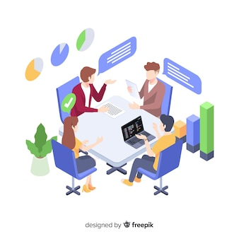 Commerciële vergadering op het concept van de bureauillustratie