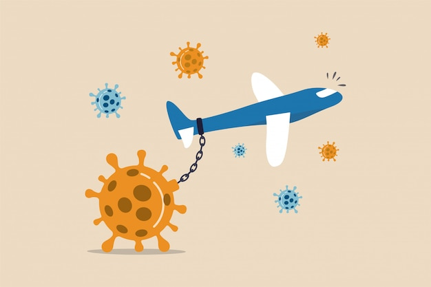 Commerciële vliegtuigketting met groot zwaar coronavirus
