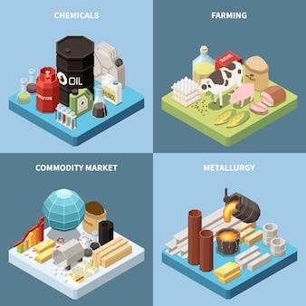 Commodity isometrisch 2x2 ontwerpconcept met composities van vervaardigde producten en afbeeldingen van industriële goederen met tekst