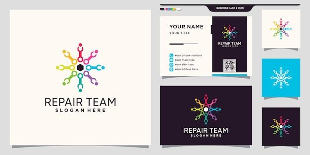Communautair logo van het reparatieteam met moersleutelpictogram en visitekaartjeontwerp premium vector