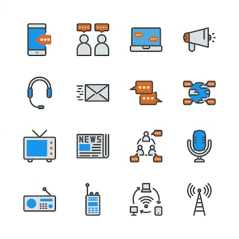Communicatie-apparaat in colorline icon set