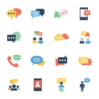 Communicatie, chat en berichten plat