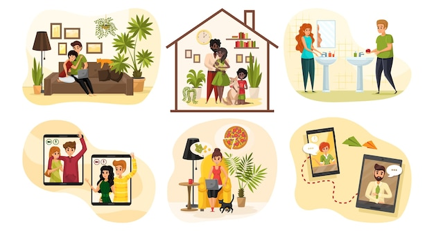 Communicatie, coronavirus, quarantaine, familieset concept. verzameling van mensen mannen vrouwen vader moeder kind paren thuis blijven in quarantaine. huishoudelijke klusjes en online chatten op sociale media.
