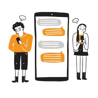 Communicatie, dialoog, conversatie op een online forum. vrouw en man chatten met smartphone