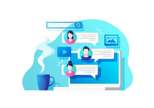 Communicatie, dialoog, conversatie op een online forum.