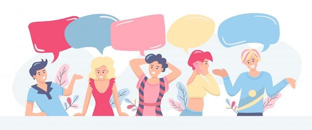 Communicatie, discussie, feedbackconcept. groep mensen met tekstballonnen op witte achtergrond, ruimte voor ontwerp. vlakke afbeelding