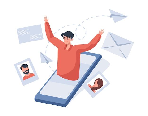 Communicatie en gesprek in de illustratie van internet