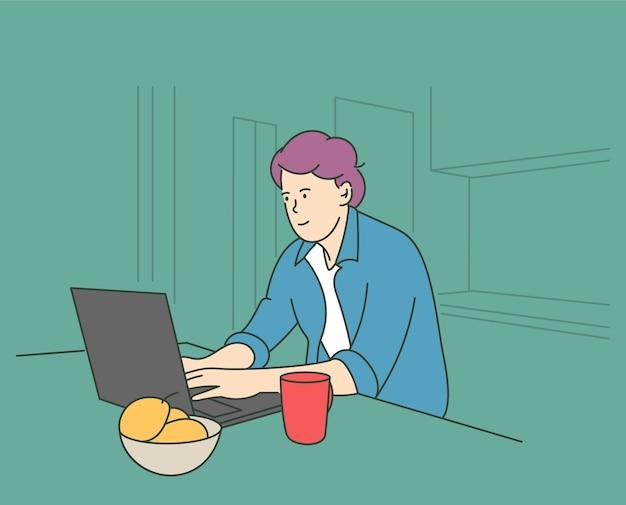 Communicatie freelance videoconferentie concept jonge man teken zittend op een stoel thuis t