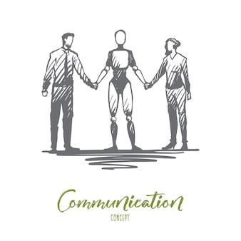 Communicatie illustratie in de hand getekend