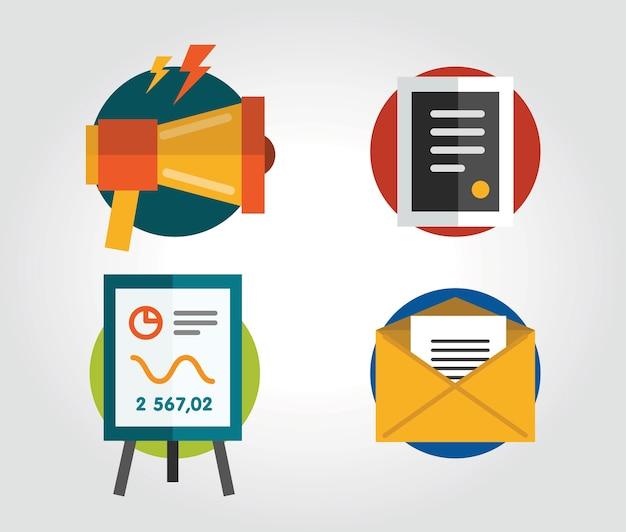 Communicatie objecten voor ontwerp. vector illustraties