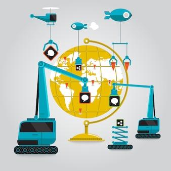 Communicatie online zaken naar de hele wereld met verbinding