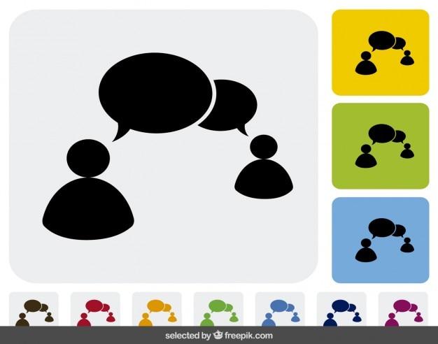 Communicatie pictogrammen in verschillende kleuren