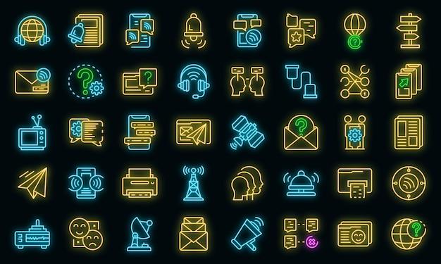 Communicatie pictogrammen instellen. overzicht set van communicatie vector iconen neon kleur op zwart