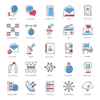 Communicatie plat pictogrammen pack