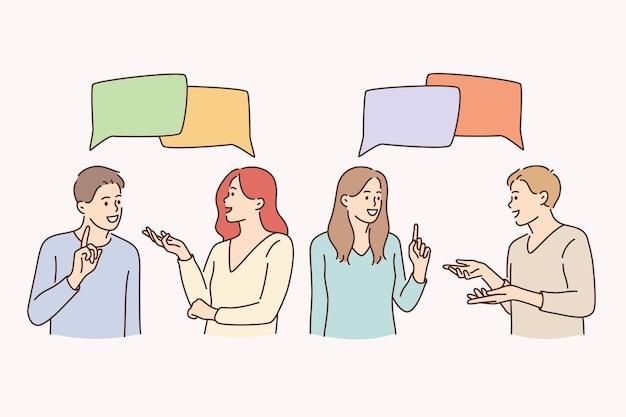 Communicatie, praten, chatten en discussie concept. jongeren, vrouwen en mannen die met tekstballonnen staan te praten over een vrolijk gevoel vectorillustratie