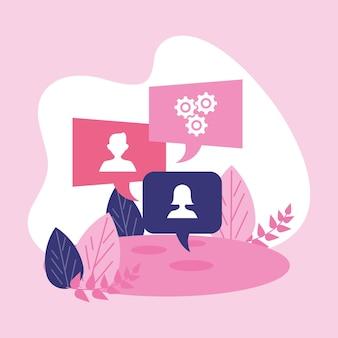 Communicatie sociale tekstballonnen