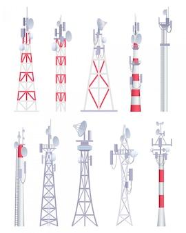 Communicatie toren. cellulaire uitzending tv draadloze radio-antena satellietbouw vectorafbeeldingen in cartoon-stijl