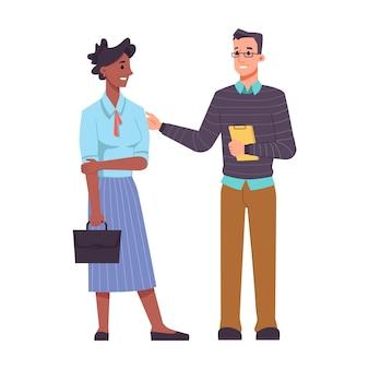 Communicatie van collega's man en vrouw praten en ondersteunen elkaar geïsoleerde afro-amerikaan