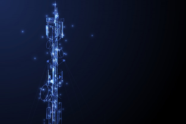 Communicatie van de antennetoren toren vectorconcept als achtergrond