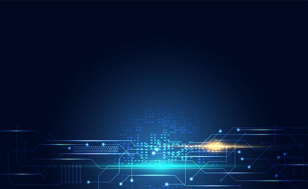 Communicatie van de moderne technologie digitale schakeling op blauw